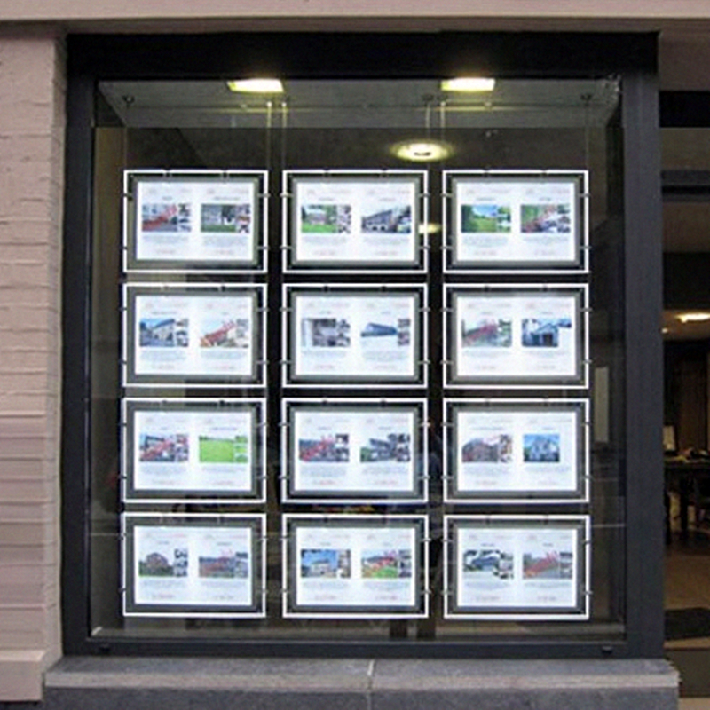 Led window display acrylic back lit poster frame estate - Porta poster plexiglass ...