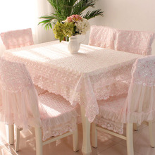 Pink Embroidered Tablecloth Lace Table cloth Chair Cover Rectangle Rural Style Skirt