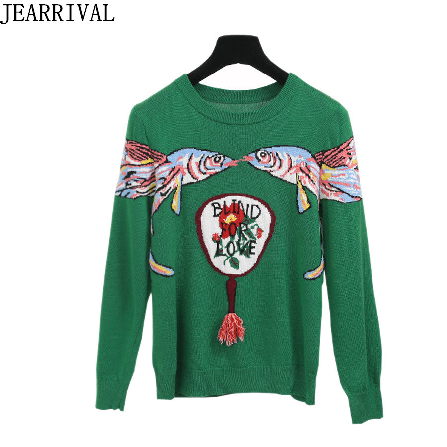 2018 New Fashion Women Sweater Runway Designer Flying Fish Print Long Sleeve Casual Pullover Slim Fit Knitted Jumper Sweaters