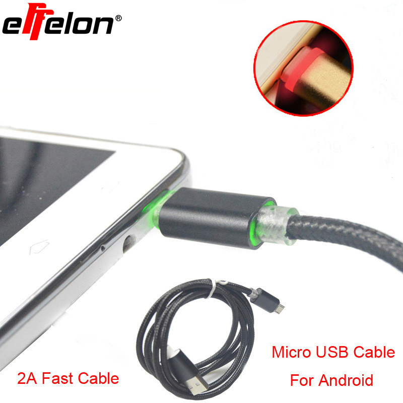 Effelon LED Micro USB Cables 2A 1M Metal Braided Cord Data Sync Wire Charger For Samsung Galaxy Android phones/Powerbank