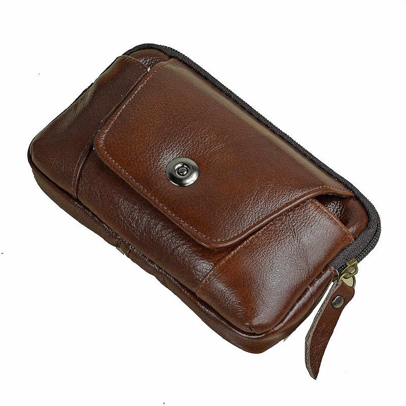 Men Genuine Leather Hip Bum Belt Bag Male Zipper Leather Phone Pouch Bag High Quality Waist Boy Fanny Packs