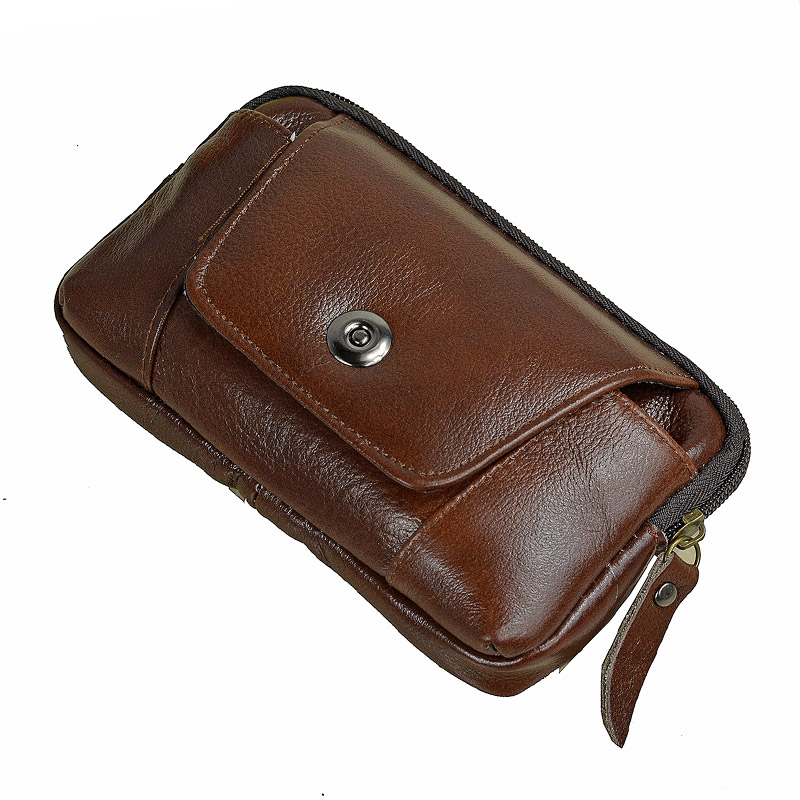 Brown Genuine Leather Waist Pack Hip Bum Zipper Phone Bag Wallet Fanny Belt Bag 5 39 to 6 39 Cell Mobile Phone Case For Iphone in Waist Packs from Luggage amp Bags