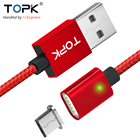 TOPK 2.4A Magnetic Micro USB Cable Upgraded Nylon Braided LED Indicator Fast Charging Magnet Charger Cable for Micro USB Phones
