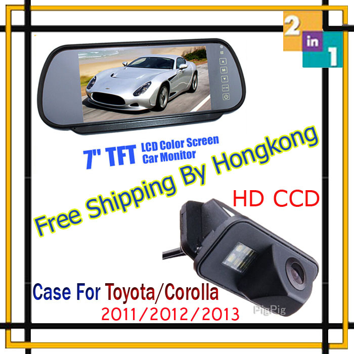 Wireless 7 Inch Color TFT LCD Auto Video Mirror Monitor + CCD Parking Assistance Rear view Camera for TOYOTA/Corollar 2011-2013 ноутбуки
