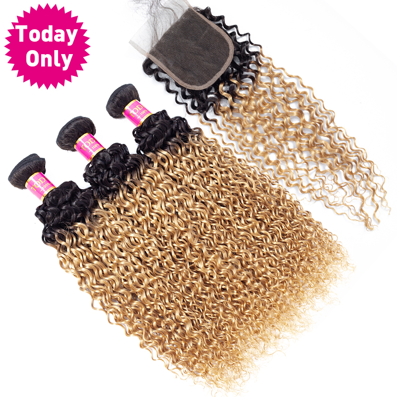 TODAYONLY Brazilian Kinky Curly Hair Bundles With Closure Blonde Bundles With Closure Ombre Human Hair Bundles With Closure Remy-in 3/4 Bundles with Closure from Hair Extensions & Wigs    3