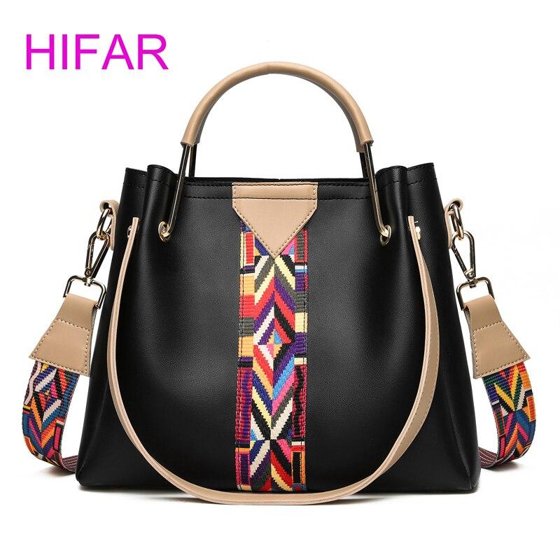 HIFAR 2017 new Fashion handbag high quality PU leather Hit the color shoulder bag Brand designer Crossbody Bags Messenger bag