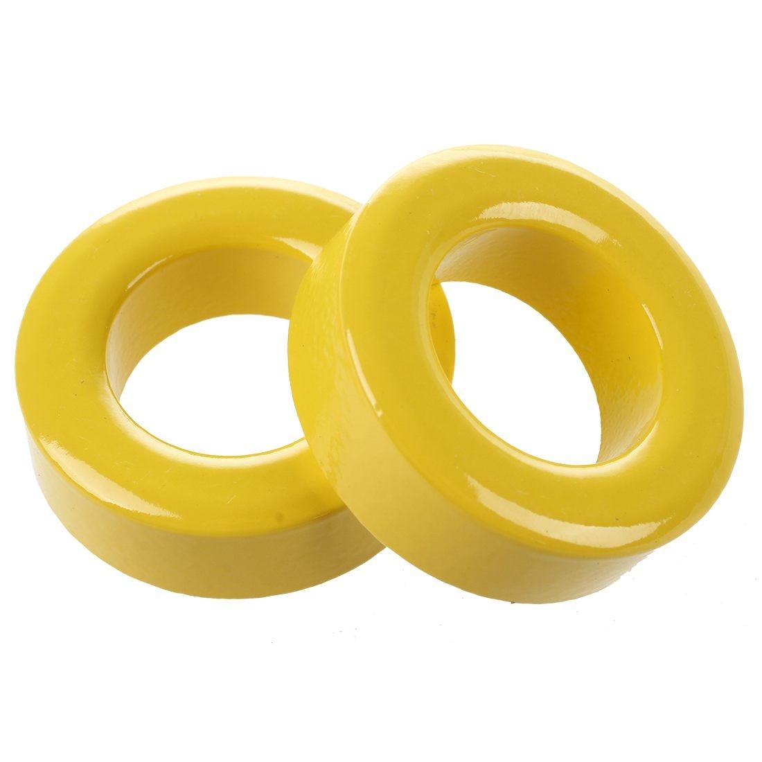 2 Pcs 33mm x 19mm x 11mm Yellow White Iron Core Ferrite Rings Toroid2 Pcs 33mm x 19mm x 11mm Yellow White Iron Core Ferrite Rings Toroid
