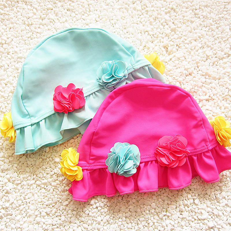Fghgf 2018 Swim Pool Flower Swimming Cap Hat For Girls Baby Kids Bathing Caps Splice Ear Protection Pink Hat Kids Swimwear