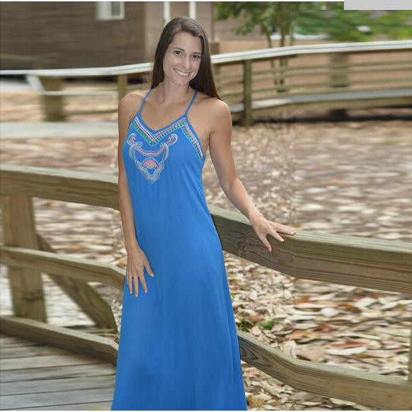 country style Summer dress 2015 BLUE women casual long maxi dress ...