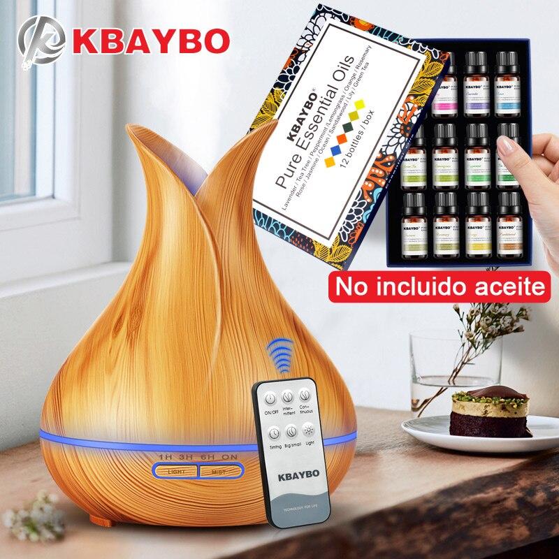 400 ML Ultrasonic Controle Remoto KBAYBO Grão de Madeira Aromaterapia Aroma do Óleo Essencial Difusor Umidificador para Casa Bebe