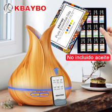 400ML KBAYBO Remote Control Ultrasonic Wood Grain Humidifier Aromatherapy Aroma Essential Oil Diffuser for Home Bebe