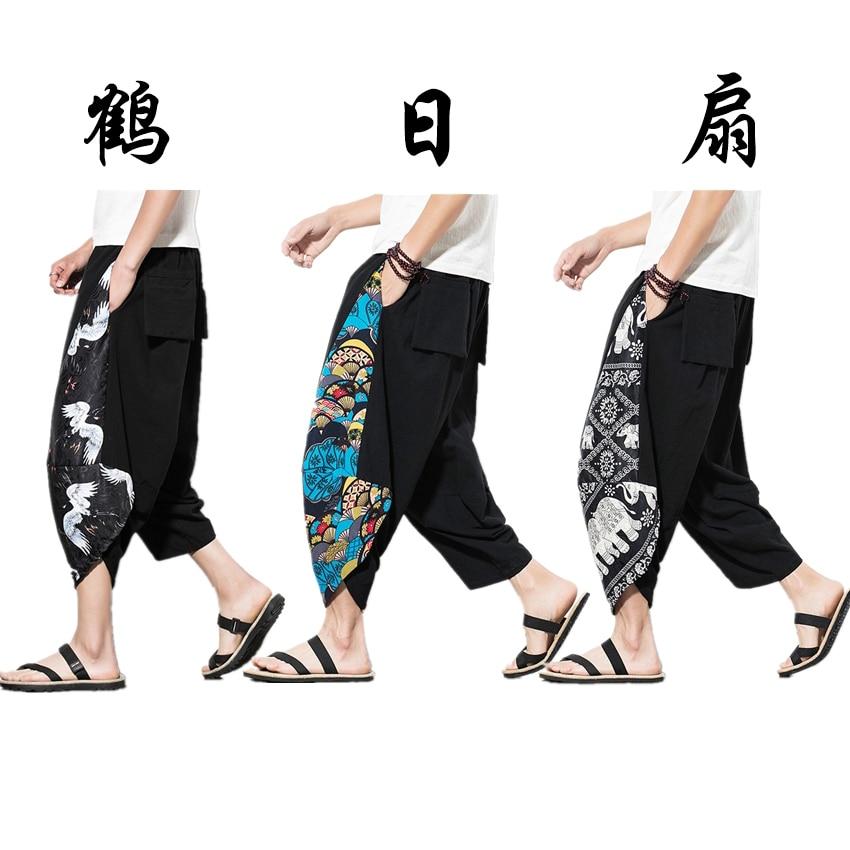 Harajuku Japan 2019 Summer Crane Embroidery Print Beach Pants Fashion Clothing Asian Clothes Japanese Style Men Kimono Yukata