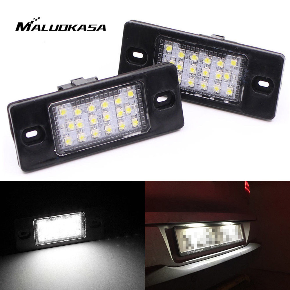 2 Pcs/Set LED License Plate Light Error Free for VW t5 for GOLF PASSAT for Porsche Cayenne 2003-2010 Car Number Plate Light