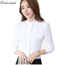 Dushicolorful Spring New  women tops and blouses formal professional work wear plus size modis bluewhite blouse цена и фото