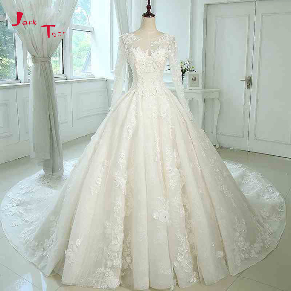 Jark Tozr 2019 New Arrive Long Sleeve China Bridal Gowns Beading Pearls All Over Lace Appliques