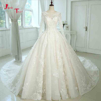 Jark Tozr 2018 New Arrive Long Sleeve China Bridal Gowns Beading Pearls All Over Lace Appliques Flowers Princess Wedding Dresses