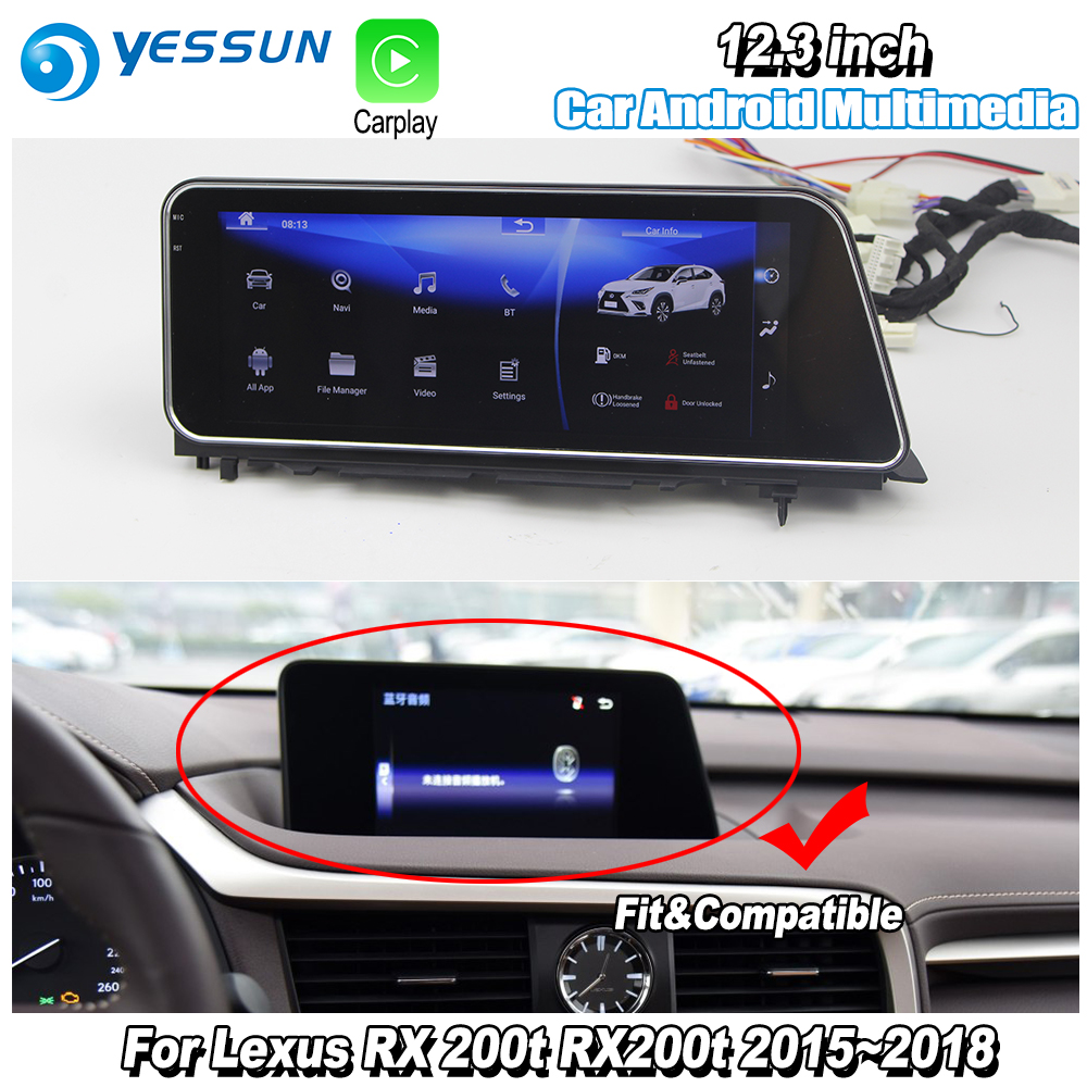 YESSUN 12.3 For Lexus RX 200t RX200t 2015~2018 Car Android Carplay GPS Navi maps Navigation Player Radio Stereo WiFi no DVD yessun for lexus al20 rx 300 rx 200t rx 450h 2015 2018 car android carplay gps navi maps navigation player radio stereo no dvd