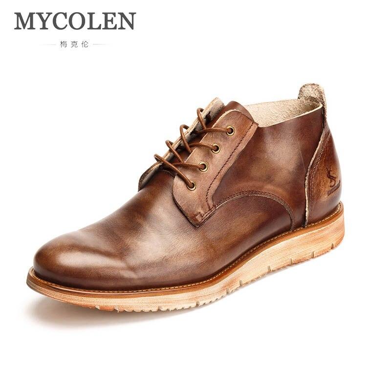 MYCOLEN/Новинка 2019 года; мужские ботинки; модные мужские Ботильоны; предмет роскоши; зимние мужские мотоциклетные ботинки; кожаная мужская повс
