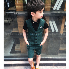 Фотография New Boy Costume Striped Single Breasted Costume for Boy & Blazers Vest + Shorts 2Pcs Children
