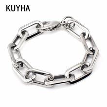 Bracelets Silver Color Wide Bracelets European Simple Style Boy/Girl Chain Bracelet 19CM Length Bangle Jewelry