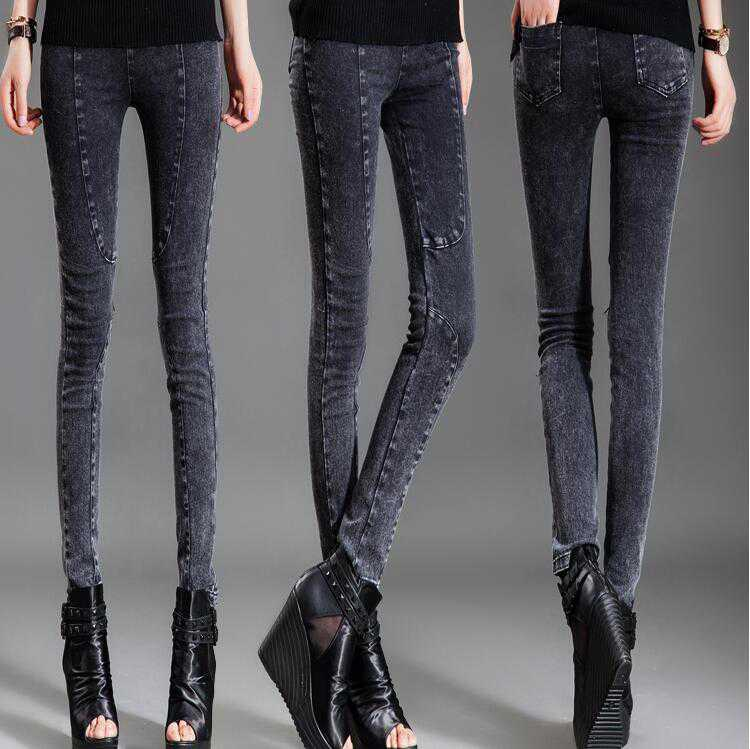 #1350 Spring Punk Leggings Skinny Biker jeans women 4XL jeans Fashion slim fit jeans Designer jeans Female Black ripped jeans