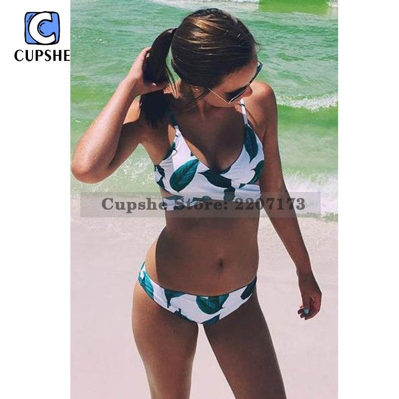 Cupshe Fresh Leaves 2017 Bikini Push Up Women Summer Swimsuit Ladies Beach Bathing Suit Swimwear Monokini Biquini cupshe point me at the sky cross bikini set women summer sexy swimsuit ladies beach bathing suit swimwear