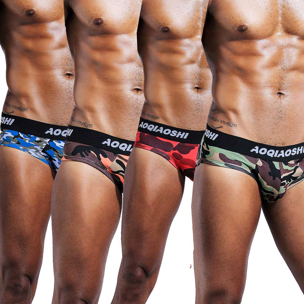 men's Brand cotton Camouflage briefs low waist gay love underwear short tight cheap and sexy underpants man fashion shorts