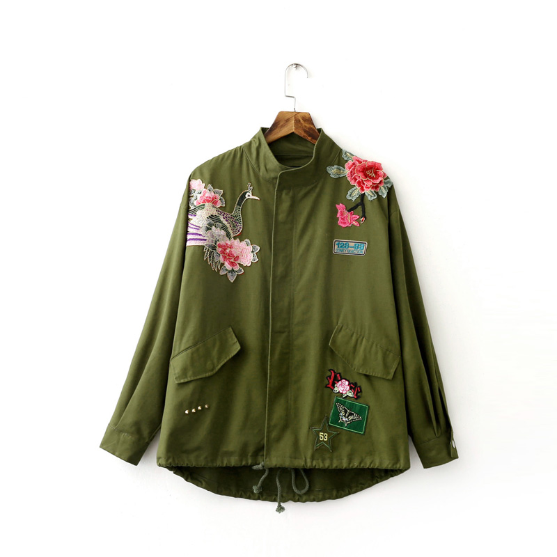 57e97df6ebc5c Women Army Green Floral Embroidery Bomber Jacket Patched Rivet