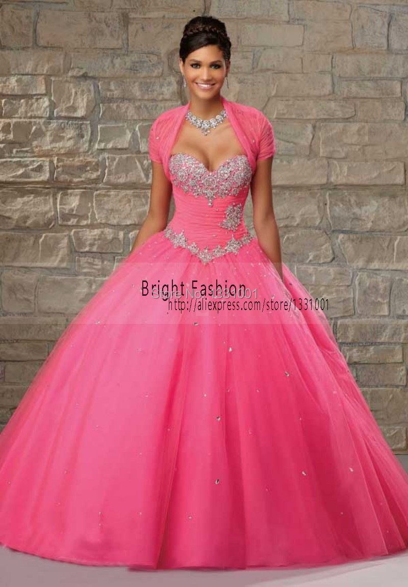 Dresses quinceanera hot pink and white catalog photo