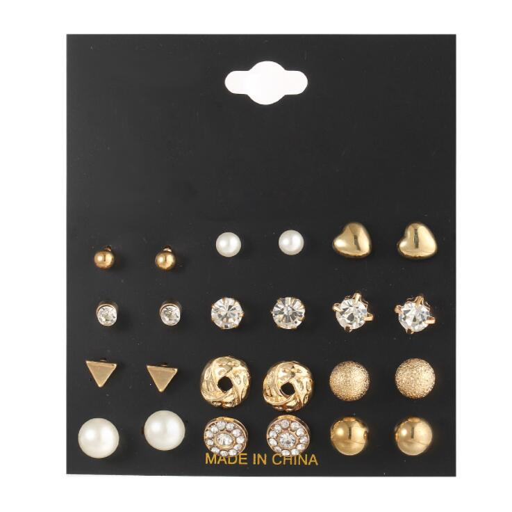 High Quality 2017 new 12 pairs sets Round Square Ball Alloy Crystal Stud Earrings For Women Hot-selling Cute Earring Sets gold earrings for women