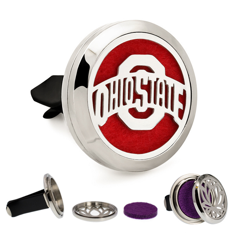 New 30MM OHIO STATE Design Car Aromatherapy Locket 316L Stainless Steel Essential Oil Diffuser Locket, Dropshipping!