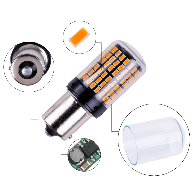 1x 3014 144smd CanBus S25 1156 BA15S P21W LED BAY15D BAU15S PY21W lamp T20 LED 7440 W21W W21/5W led Bulbs For Turn Signal Light