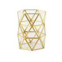Nordic Retro Brass Storage Tray Golden Polygon Glass Makeup Organizer Tray Dessert Plate Jewelry Display Home Kitchen Decor