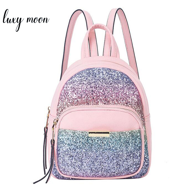 Fashion Sequins Women Backpack Sweet Mini Leather School Bags For Girls Lovely Pink Travel Bag Princess Bling Backpacks Mochila women sequins backpack female fashion bling bling children backpacks mini bags ladies casual shoulder bags for teenager girls