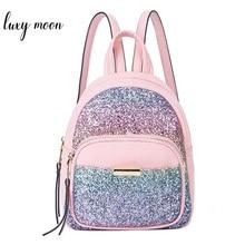 Fashion Sequins Women Backpack Sweet Mini Leather School Bags For Girls Lovely Pink Travel Bag Princess Bling Backpacks Mochila