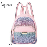 Fashion Sequins Women Backpack Sweet Mini Leather School Bags For Girls Lovely Pink Travel Bag Princess Bling Backpacks Mochila
