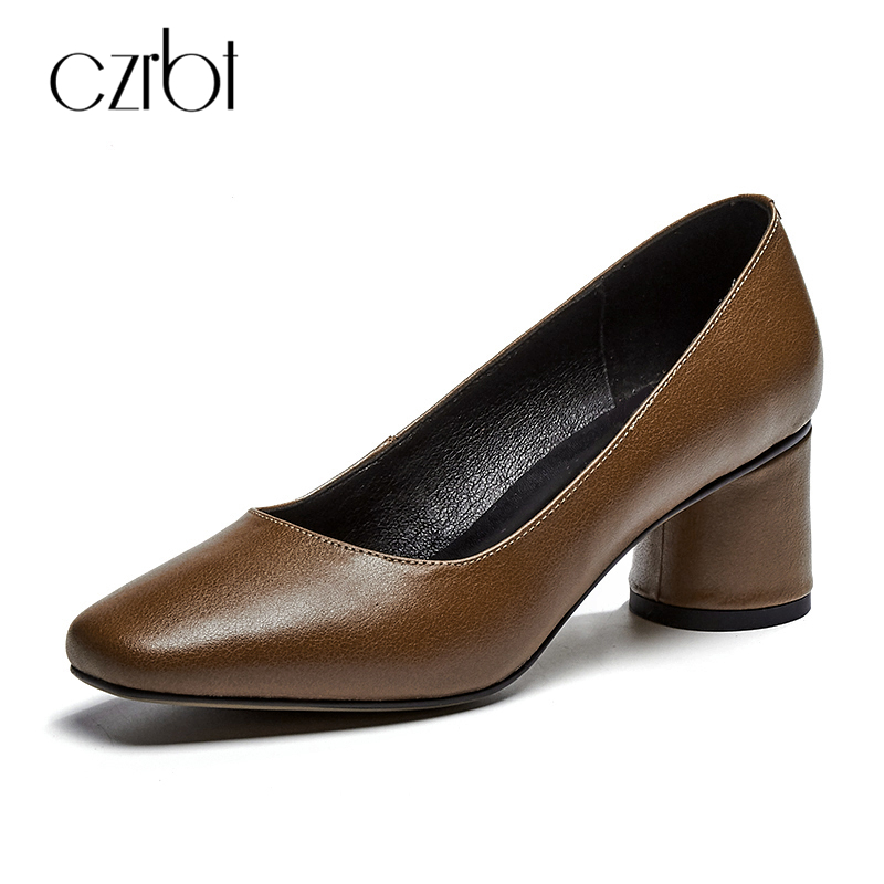 CZRBT Classic Genuine Cow Leather High Heels Handmade Women Shoes Spring Woman Square Toe Shallow Mouth Casual High Heel Shoes genuine cow leather spring shoes wedges soft outsole womens casual platform shoes high heel round toe handmade shoes for women