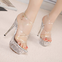 2017 New 14cm Silver Color Women Crystal Sexy High Heel Sandals Transparent Crystal Bottom Open Toe