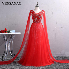 VENSANAC 2018 Flowers Embroidery A Line O Neck Long Evening Dresses Elegant Party Lace Tank Backless Tulle Prom Gowns