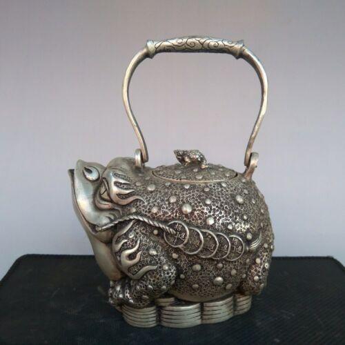 Exquis chinois vieux Tibet argent cuivre richesse argent doré crapaud Spittor Statue vin Pot théière