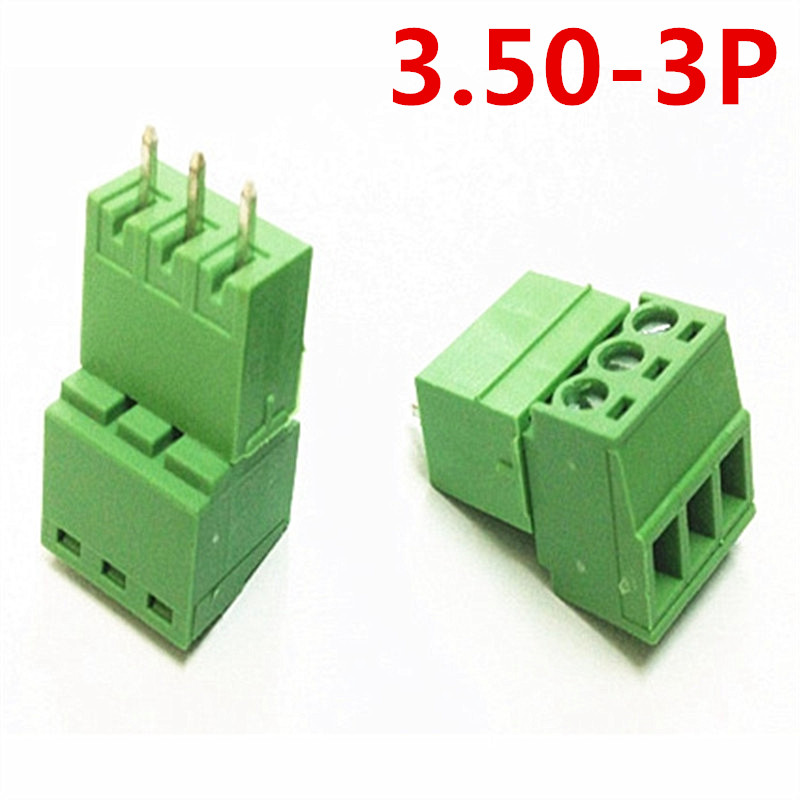 10sets 3 Pin PCB Electrical 15EDG-3.5mm Pitch Pluggable type Straight Screw Green Terminal Block Connector pin header and socket