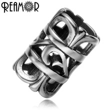 REAMOR Polishing 316l Stainless Steel Punk Style European Big Hole Spacer Beads Charms Multi-layer Barrel Beads Jewelry Making