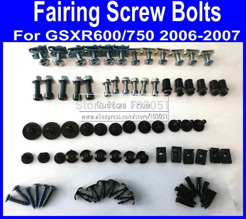 New Motorcycle Fairing common screw bolts set for SUZUKI GSXR 600 750 K6 2006 2007 GSXR600 GSXR750 06 07 black fairings bolt scr new motorcycle ram air intake tube duct for suzuki gsxr600 gsxr750 2006 2007 k6 abs plastic black