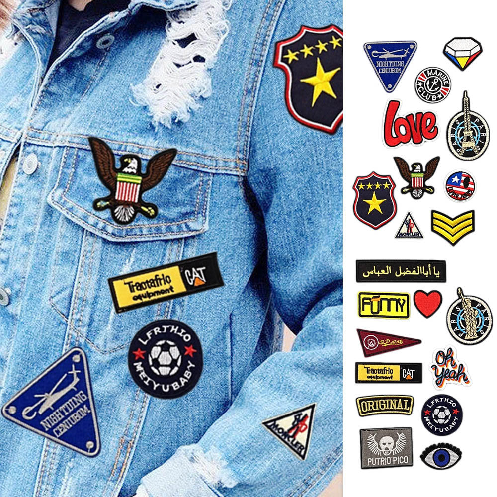 Assorted Styles Embroidered Patch Cute Sewing on Patches Appliques for Clothes Jackets Hats Backpacks Jeans DIY Accessory 21 Pcs Iron on Patches