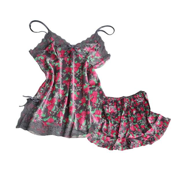 Sexy Pijamas de Seda Das Mulheres de Renda Floral Braded Robe Pijamas Lingerie Camisola Babydoll Pijamas Set V Pescoço calças de Pijama calções