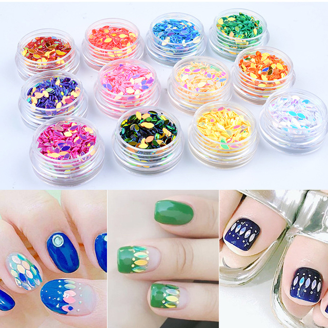 12Pcs Nail Art Rhinestone Glitter Sequins Art Decoration Colorful ...