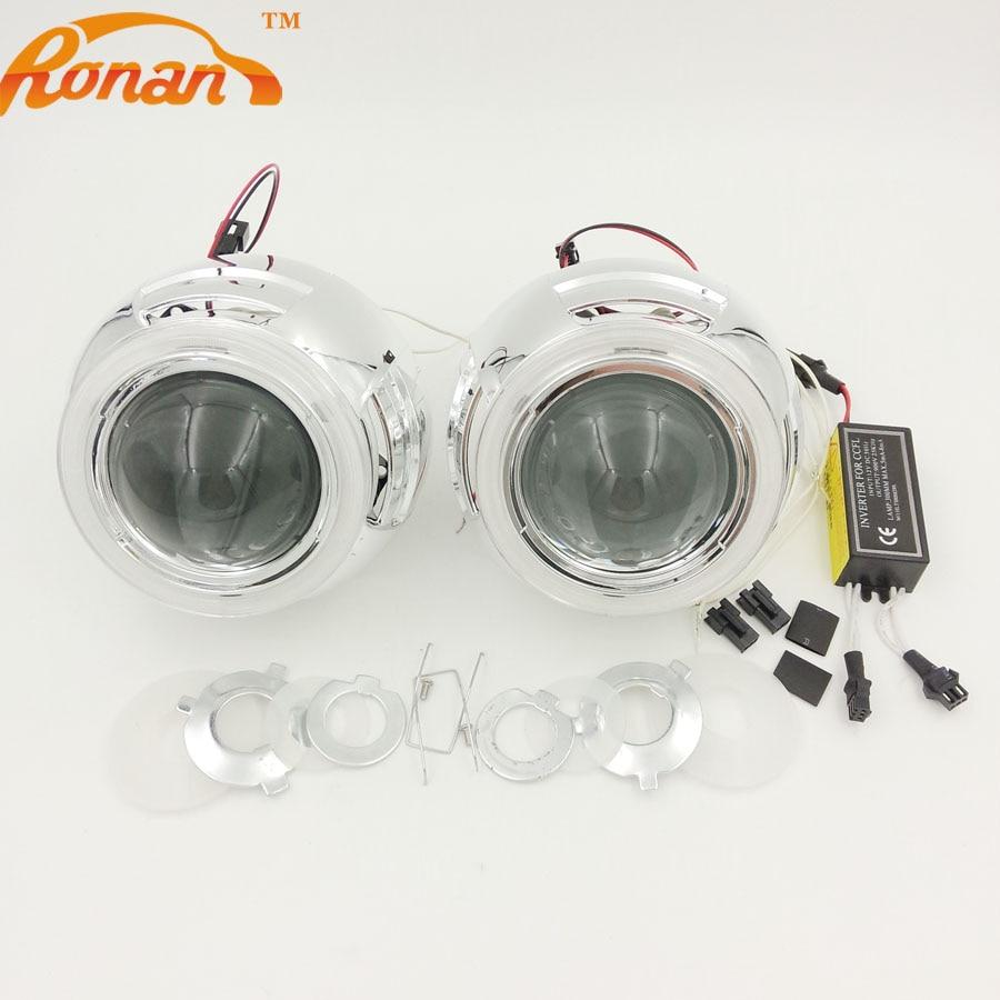 RONAN 3.0'' Bi-Xenon HID Headlight Retrofit Projector Lens LHD/RHD use bulb H1 with CCFL Angel eyes fits for H4 H7 Free Shipping