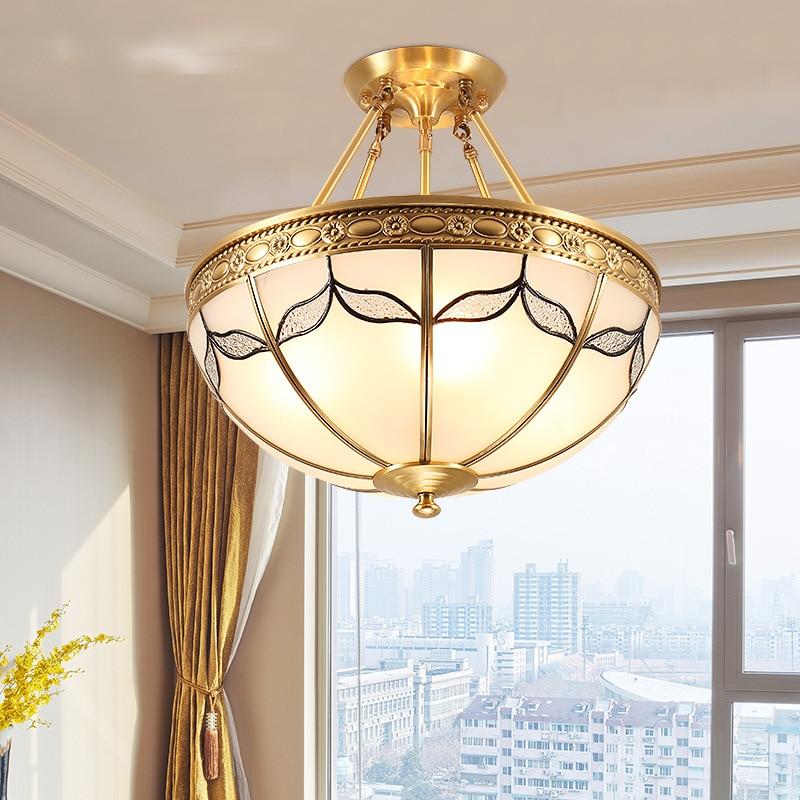 European LED ceiling lamp restaurant study Copper lights living room bedroom novelty wrought iron