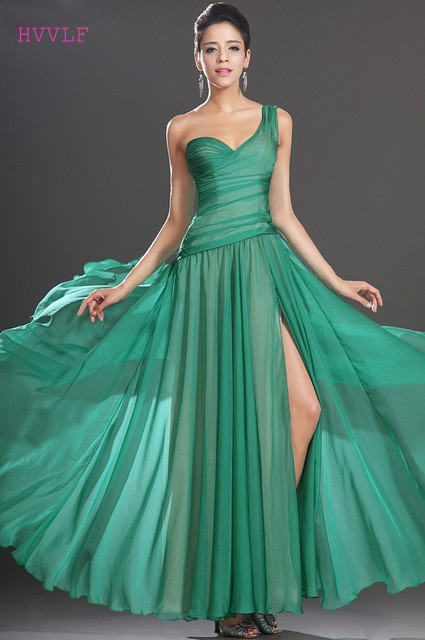 Green   Evening     Dresses   2019 A-line One-shoulder Chiffon Slit Sexy Long Formal Party   Evening   Gown Prom   Dresses   Robe De Soiree