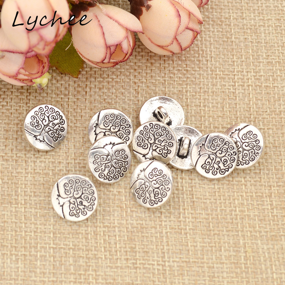 10 Pcs Metal Sunflower Carved Antique Silver Shank Buttons Sewing Craft DIY